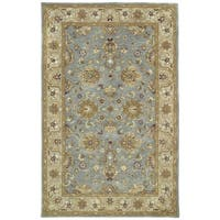Hand-tufted Royal Taj Aqua Wool Rug - 5' x 7'9
