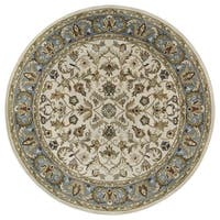 Hand-tufted Royal Taj Beige Wool Rug (7'9 Round)