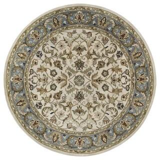 Hand-tufted Royal Taj Beige Wool Rug (9'9 Round)
