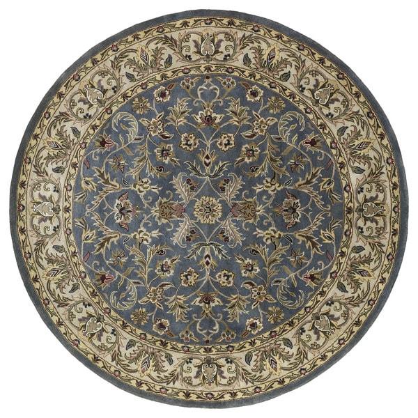 "Hand-tufted Royal Taj Blue Wool Rug (5'9 Round) - 5'9"" Round"
