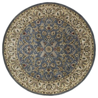 Hand-tufted Royal Taj Blue Wool Rug (5'9 Round)