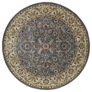 handtufted royal taj blue wool rug 5u00279 round