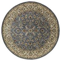 Hand-tufted Royal Taj Blue Wool Rug (5'9 Round)