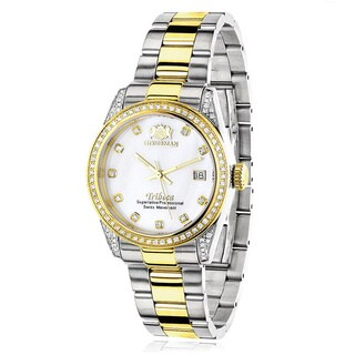 Luxurman Women's Tribeca Two-tone Gold-plated Diamond 1 1/2ct TDW Watch with Metal Band and Extra Le