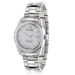 Luxurman Women's 'Tribeca' 1 1/2ct TDW Diamond Watch Metal Band plus Extra Leather Straps