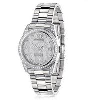 Luxurman Women's 'Tribeca' 1 1/2ct TDW Diamond Watch Metal Band plus Extra Leather Straps