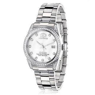 Luxurman Women's 'Tribeca' 1 1/2ct TDW Diamond Stainless Steel Watch Metal Band plus Extra Leather S