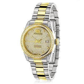 Luxurman Women's 'Tribeca' Yellow Gold-Plated Two-Tone 1 1/2ct TDW Watch