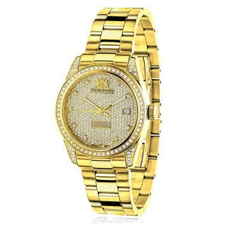 Luxurman Women's 'Tribeca' Yellow Gold-Tone Diamond 1 1/2ct TDW Watch