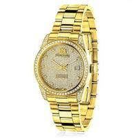 Luxurman Women's 'Tribeca' Yellow Gold-Tone Diamond 1 1/2ct TDW Watch