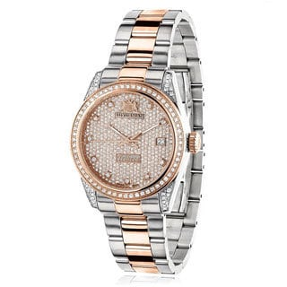 Luxurman Women's 'Tribeca' Two-Tone Rose Gold-Plated Women's 1 1/2ct TDW Diamond Watch