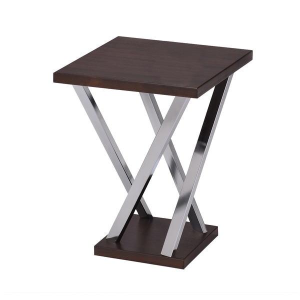 Walnut And Chrome Finish Side End Snack Table Free
