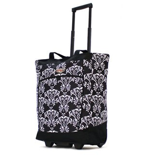 Olympia Fashion Damask Black Rolling Shopper Tote