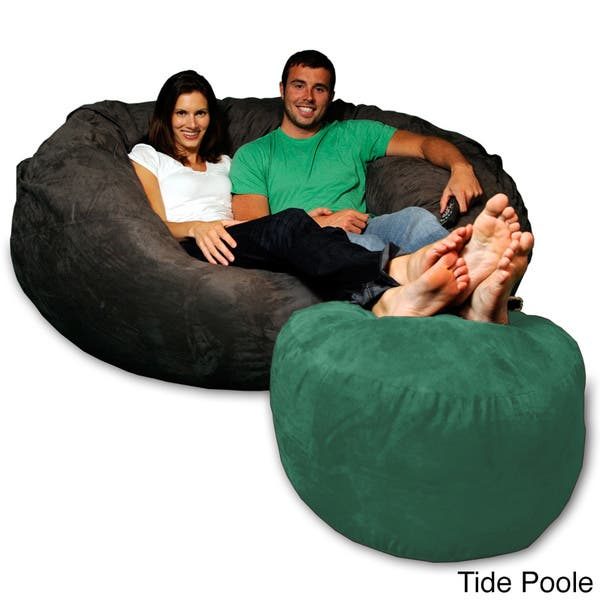 Sensational Shop Soft Micro Suede Bean Bag Ottoman Free Shipping Today Gmtry Best Dining Table And Chair Ideas Images Gmtryco