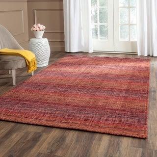 Safavieh Handmade Himalaya Red/ Multicolored Wool Stripe Rug (5' x 8')