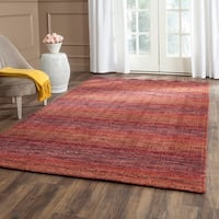 Safavieh Handmade Himalaya Red/ Multicolored Wool Stripe Rug - 5' x 8'