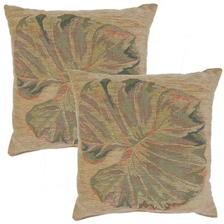 Chenille Leaf 19-in Throw Pillows (Set of 2)