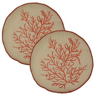 Coral Nautilus 12-in Round Throw Pillows (Set of 2)