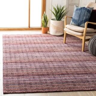 Safavieh Handmade Himalaya Purple Wool Geometric Stripe Rug (4' x 6')