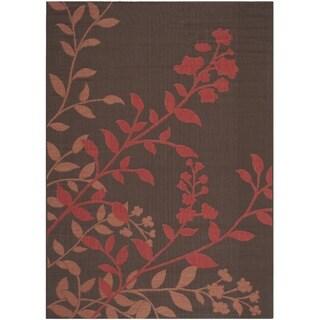 Safavieh Indoor/ Outdoor Courtyard Chocolate/ Red Rug (4' x 5'7)