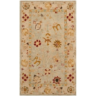 Safavieh Handmade Anatolia Oriental Grey Blue/ Ivory Hand-spun Wool Rug (3' x 5')