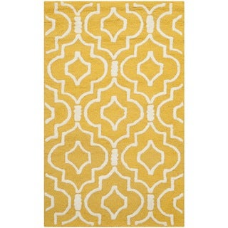 Safavieh Handmade Moroccan Cambridge Gold/ Ivory Wool Rug (2' x 3')