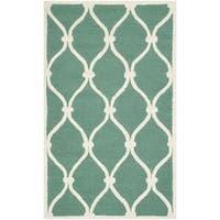 Safavieh Handmade Moroccan Cambridge Teal/ Ivory Wool Rug (2' x 3') - 2' x 3'