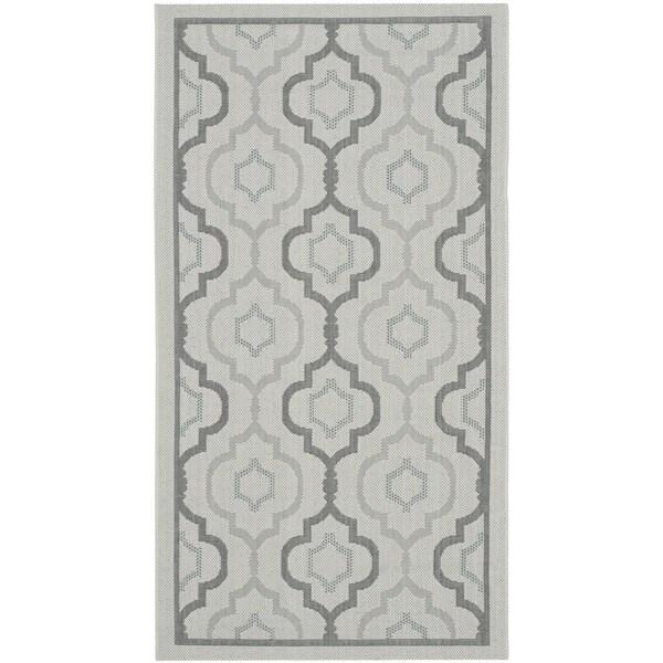 Safavieh Indoor/ Outdoor Courtyard Light Grey/ Anthracite Rug (2' x 3'7)