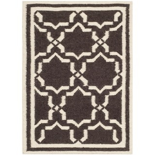 Safavieh Hand-woven Moroccan Reversible Dhurries Chocolate/ Ivory Wool Rug (2' x 3')