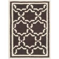 Safavieh Hand-woven Moroccan Reversible Dhurries Chocolate/ Ivory Wool Rug - 2' x 3'