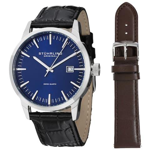 Stuhrling Original Men's Ascot 42 Watch Set Swiss Quartz Interchangeable Strap Interchangeable Strap Watch