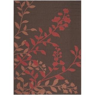 Safavieh Indoor/ Outdoor Courtyard Chocolate/ Red Rug (6'7 x 9'6)
