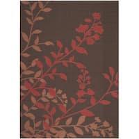 Safavieh Indoor/ Outdoor Courtyard Chocolate/ Red Rug - 6'7 x 9'6