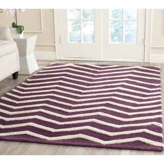 Safavieh Handmade Moroccan Cambridge Purple/ Ivory Wool Rug (6' x 9')