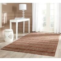 Safavieh Handmade Himalaya Brown/ Multicolored Wool Stripe Area Rug - 6' x 9'