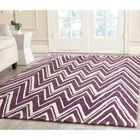 Safavieh Handmade Moroccan Cambridge Purple/ Ivory Wool Rug - 8' x 10'