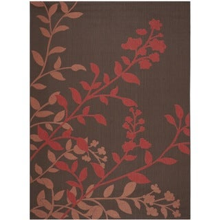Safavieh Indoor/ Outdoor Courtyard Chocolate/ Red Rug (8' x 11')
