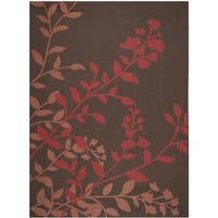 Safavieh Indoor/ Outdoor Courtyard Chocolate/ Red Rug - 8' X 11'
