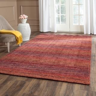 Safavieh Handmade Himalaya Red/ Multicolored Wool Stripe Rug (6' x 9')