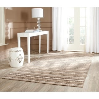 Safavieh Handmade Himalaya Natural/ Multicolored Wool Stripe Area Rug (6' x 9')