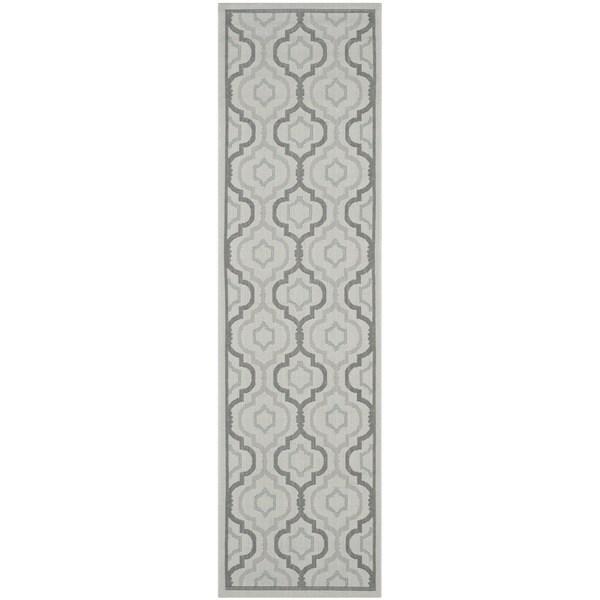 Safavieh Indoor/ Outdoor Courtyard Light Grey/ Anthracite Rug (2'3 x 6'7)