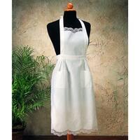 Saro Embroidery and Cluny White Cotton Apron