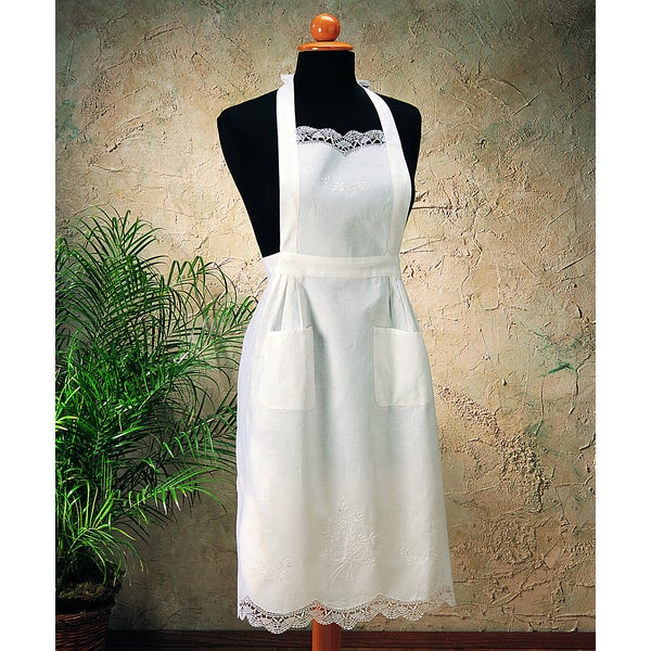 Shop Saro Embroidery And Cluny White Cotton Apron