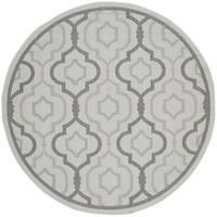 """Safavieh Indoor/ Outdoor Courtyard Light Grey/ Anthracite Rug - 5'3"""" x 5'3"""" round"""