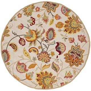 Safavieh Hand-Hooked Four Seasons Ivory / Yellow Rug - 4' Round