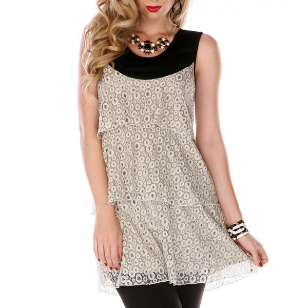 Firmiana Women's Black and Cream Layered Lace Tank Top