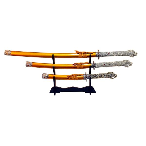 3-piece Gold Carbon Steel Japanese Samurai Highlander Sword Set with Stand