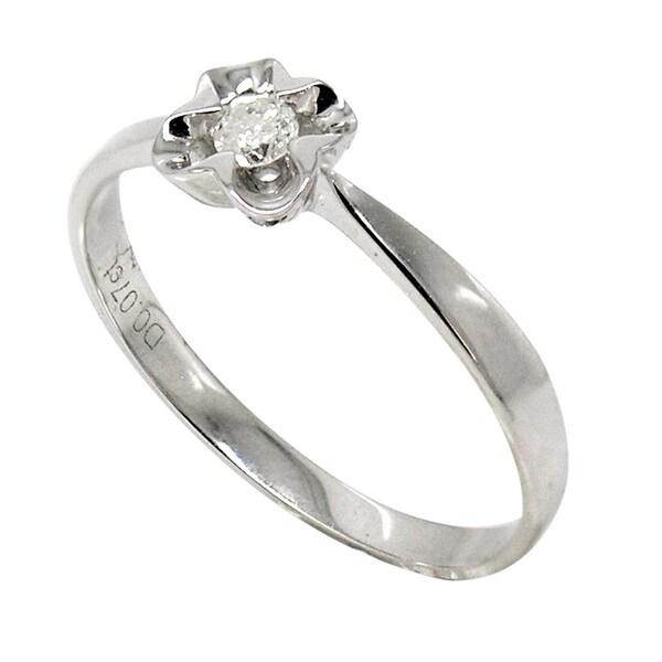 De Buman 18k White Gold Prong-set Diamond Accent Solitaire Ring