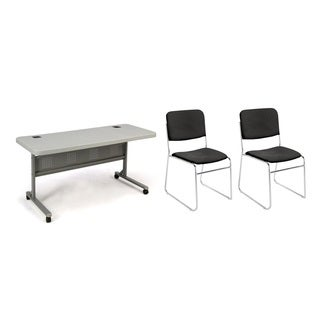 Flipper Table and Black Padded Stack Chair 3-piece Set