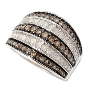 Sterling Silver 1ct TDW Champagne and White Multi-row Pave Diamond Ring (H-I, I2-I3)